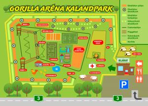 Gorilla Aréna Kaland- és élménypark térkép